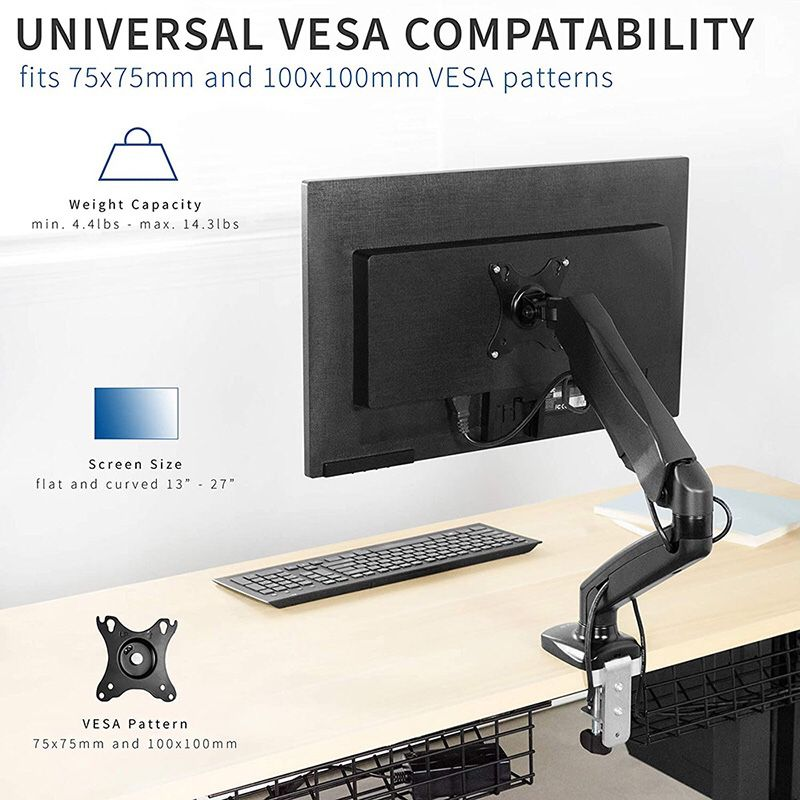 """$20 (new) vivo (v001o) height adjustable monitor desk mount fully articulating single arm, screens up to 27"""""""