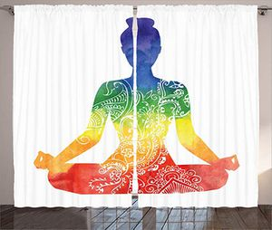 Yoga Curtains, Silhouette of Woman in Lotus Pose with Ornate Motifs and Rainbow Colors on Her Body, Window Drapes 2 Panel Set for Living Room Bedroom for Sale in Durham, NC