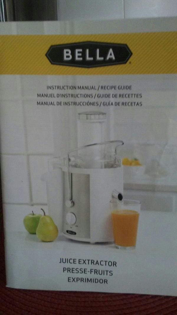 Bella Juice Extractor With Instruction Manual Recipe Guide For