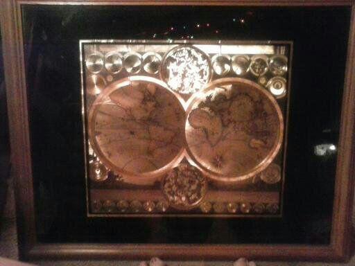 World Map By Peter Schenk The Elder.Antique 24k Goldleaf World Map By Pfter Schenk The Elder 1645 1715