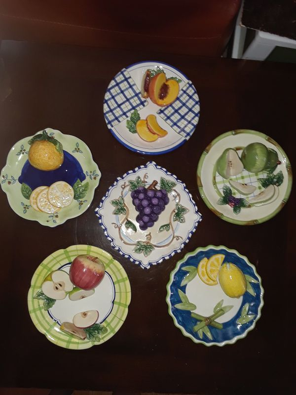 3d Casa Bella Decorative Fruit Plates By Ganz For Sale In San