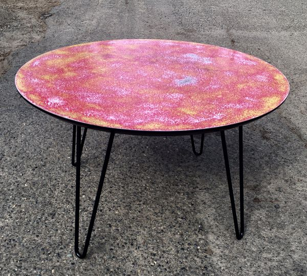Refinished Colorful Small Coffee Table Or Side 28 Inches Round 16 High