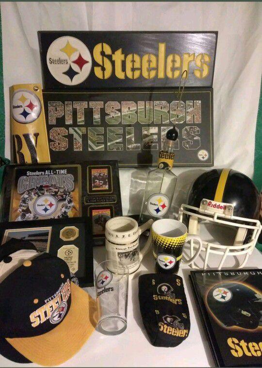 350bb9a3f01 PITTSBURGH STEELERS NFL Memorabilia Bundle Helmet Plaque Bottle Hats Cup  Bowl