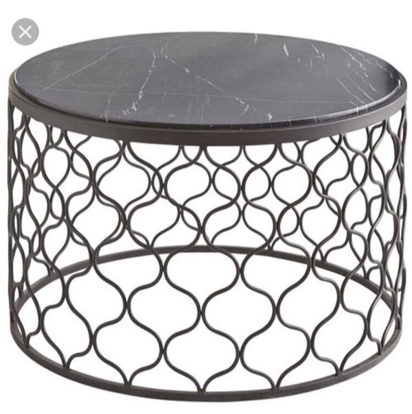Pier Imports Black Moroccan Trellis Wrought Iron Tremont Round - Moroccan outdoor coffee table