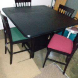 """As a new freshly painted and upholstered tall dining set, table has bottom shelves and measures 46 """"× 46"""" 37 """"H and chairs 42"""" from back to floor and  Thumbnail"""