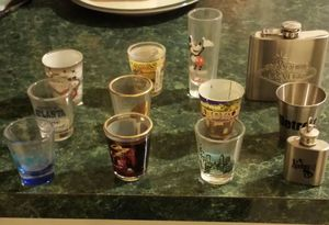 Collection of shot glasses and flasks for Sale in Chicago, IL