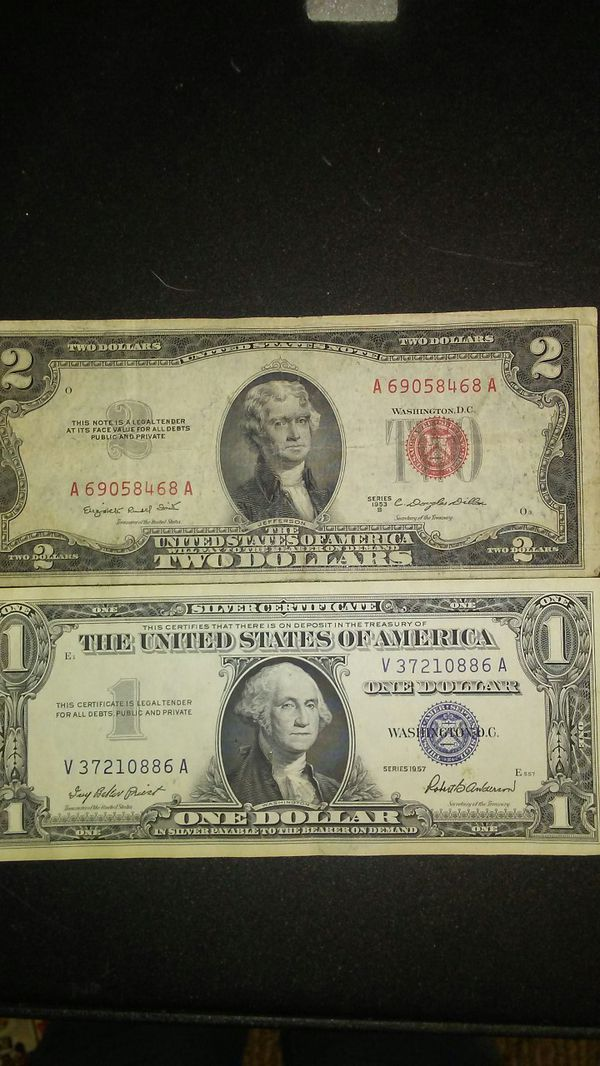 1953 Red Stamped 2 Dollar Bill And A 1957 1 Dollar Silver