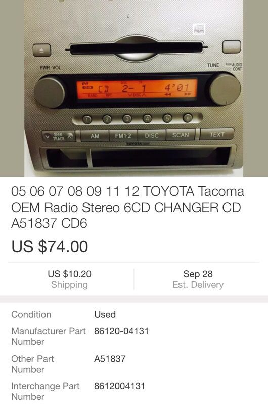 05 06 07 08 09 11 12 TOYOTA Tacoma OEM Radio Stereo 6CD CHANGER CD A51837  CD6 for Sale in Everett, WA - OfferUp