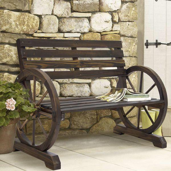NEW Elegant Wooden Wagon Wheel Bench (Brown, Garden Bench