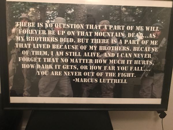 Framed customized Marcus Luttrell quote poster. for Sale in Avondale, AZ -  OfferUp