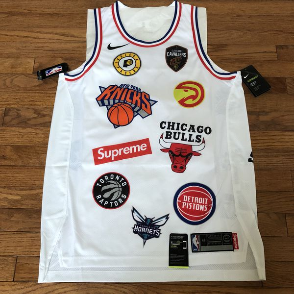 d5c699882fa supreme nike nba teams warm up jacket white  brand new supreme nike nba  jersey size large white 48 (clothing shoes) in sterling