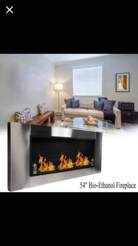 54 Wall Mount Bio Ethanol Fuel Real Flame Burner Ventless Fireplace