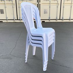 """$32 (new) set of (4pcs) stacking plastic chair outdoor patio furniture chairs 17x19x34""""  Thumbnail"""