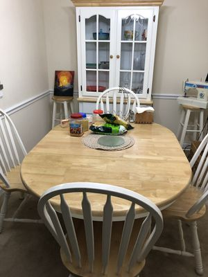 Full size mattress, dining table with 4 chairs and 2 bar stools and hutch and sofa and a couch for Sale in Laurel, MD