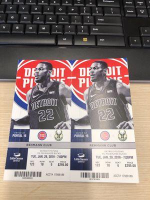 Detroit Piston vs. Milwaukee Bucks - Rehmann Club - Ticket-LCA for Sale in Detroit, MI