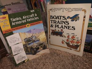 Photo Learn how to draw Boars, Trains & Planes, Tanks, Aircraft & Armored Vehicles with these drawing books ! Book lot sale! Vintage