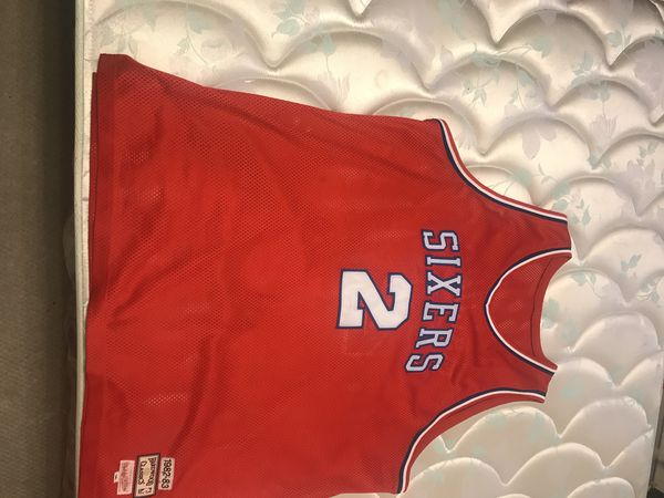 9634123cf03 Men s Philadelphia 76ers Moses Malone Mitchell   Ness Red 1982 - 1983  2 Authentic  Jersey sz 56 (3x)
