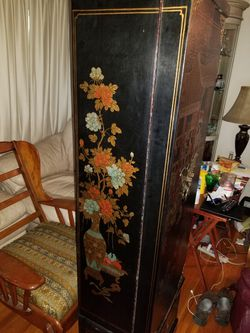 Beautiful Black lacquer oriental floor jewelry armoire Thumbnail