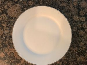 36 White dinner plates with silver rim for sale for Sale in Rockville, MD