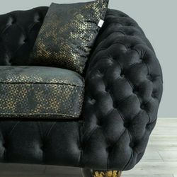Dalia Black Velvet Sofa & Loveseat 🎸Only 39$ down Payment 🌼No Needed Credit Check 🔥Same Day Delivery👉Anna👈 Thumbnail