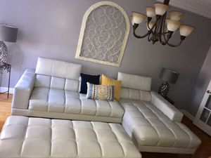 White Leather Sectional Like New For Sale In Sanford NC