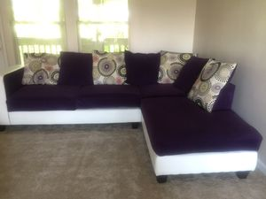 Couch Sofa Sectional Purple White Pillows Living Room For In Charlotte Nc