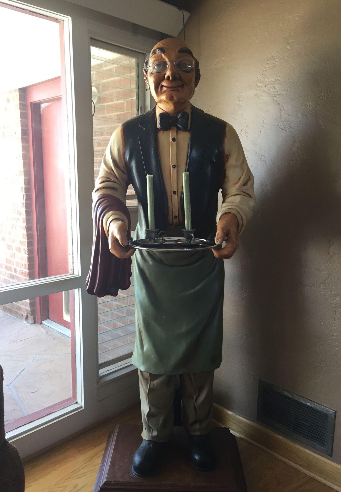 Antique Old Man Waiter Statue