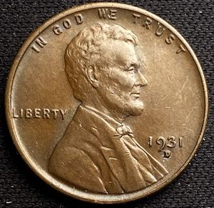 Photo 1931 D Lincoln Head Wheat Cent VERY HIgh Grade Beautiful Tone Color!