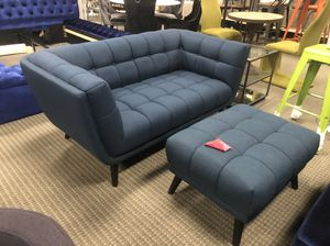 Blue fabric loveseat and ottoman mid century modern for Sale in Annandale, VA