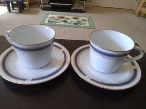 Photo Noritake China  Blue Dawn tea cups and saucers