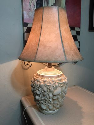 """27""""seashell lamp with faux leather shade #518 for Sale in Cartersville, GA"""