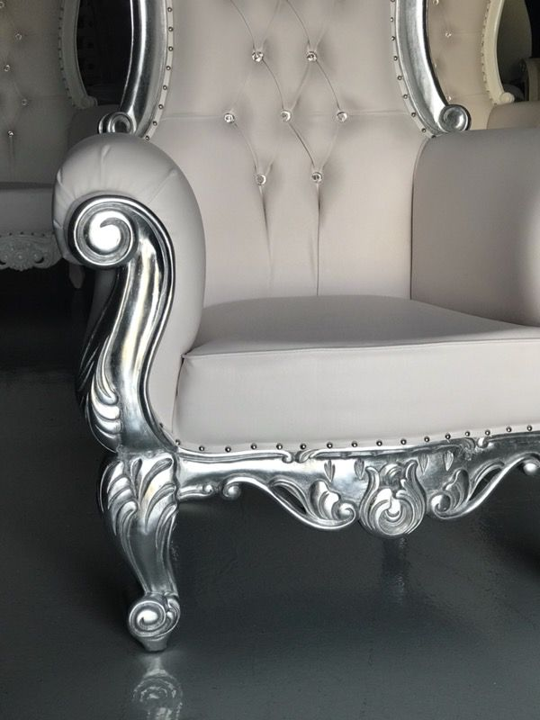 Free Silver Leaf Throne Chairs King Queen Princess Royal Baroque Wedding Event Party Photography Hotel Lounge Boutique Furniture For In