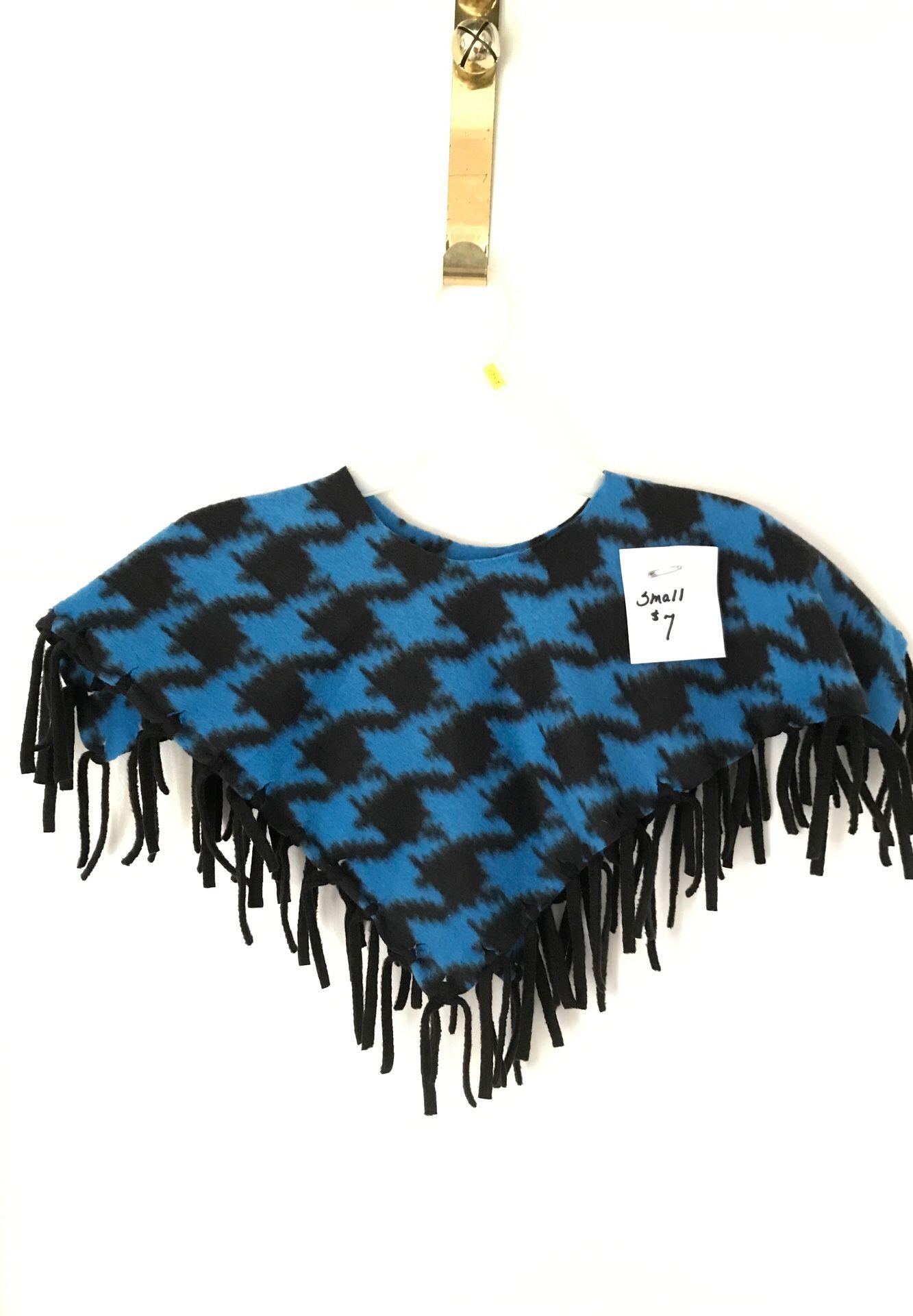 Handmade fleece poncho blue and black small