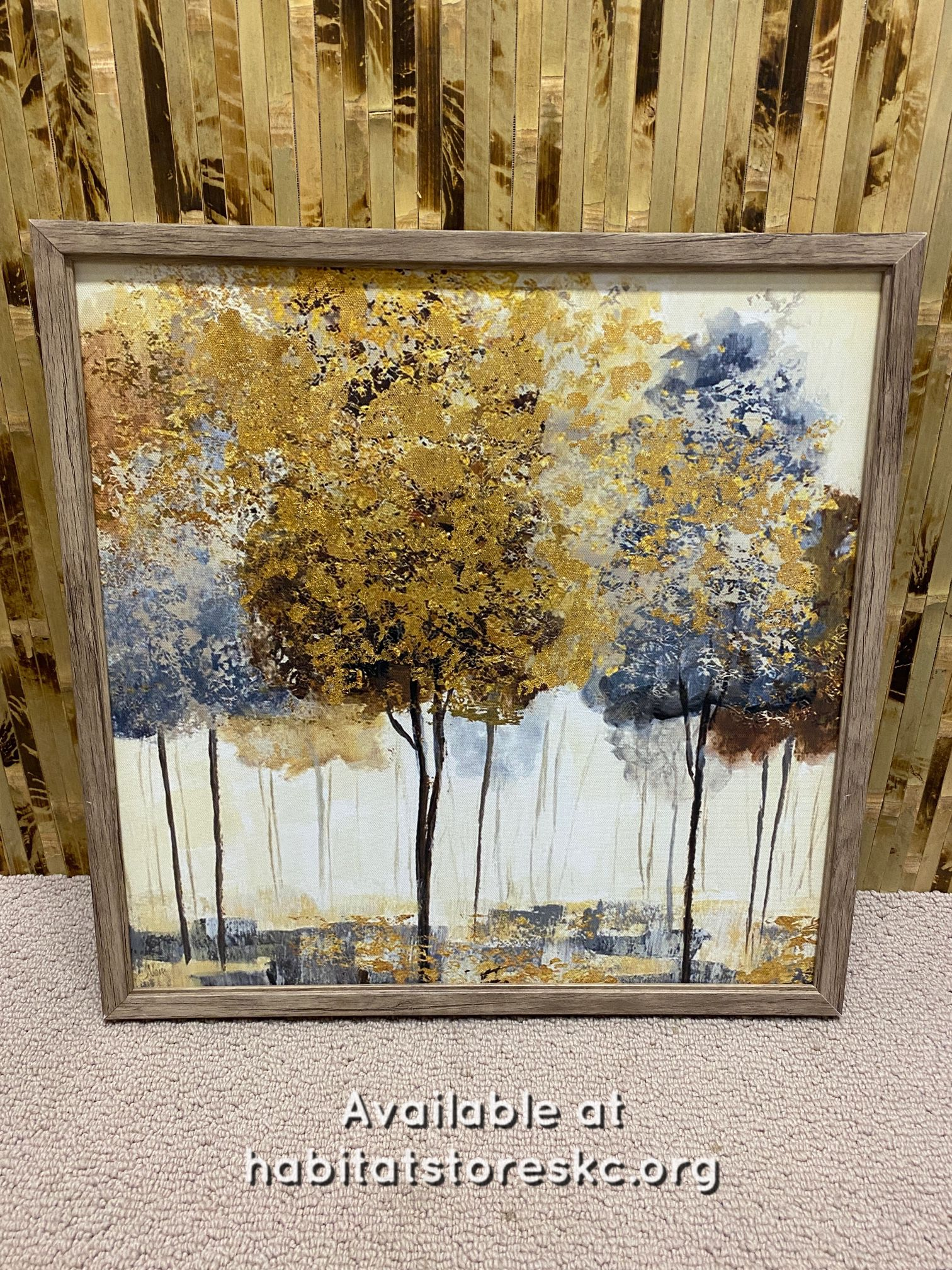 Gold Accent Tree Wrapped Canvas