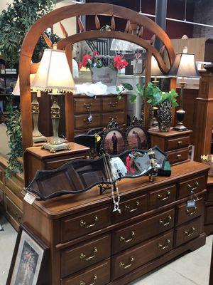 Used, Triple Mirrored Oak Dresser for sale  Tulsa, OK