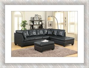 Black sectional with free ottoman and delivery for Sale in McLean, VA
