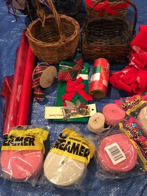 Box of baskets. Ribbon. Streamers and gift wrap for Sale in Fairfax, VA