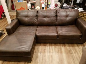 Leather brown couch with reversible sectional for Sale in Annandale, VA