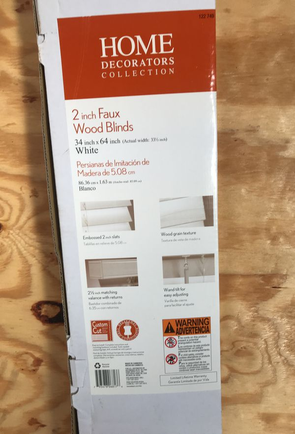 Home decorators collection 2 inch faux wood blinds 34inch x 64 inch ...