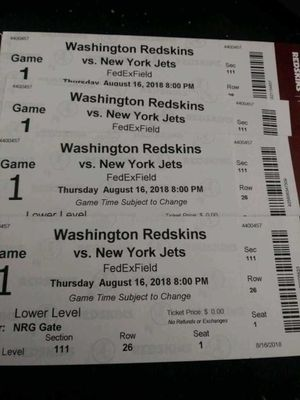 Redskins vs Jets for Sale in Alexandria, VA