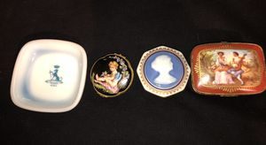 ALL 4 FRENCH ANTIQUES 1 MILK GLASS ASHTRAY & 3 FRENCH PORCELAIN LIMOGES TRINKET BOXES for Sale in Bronx, NY