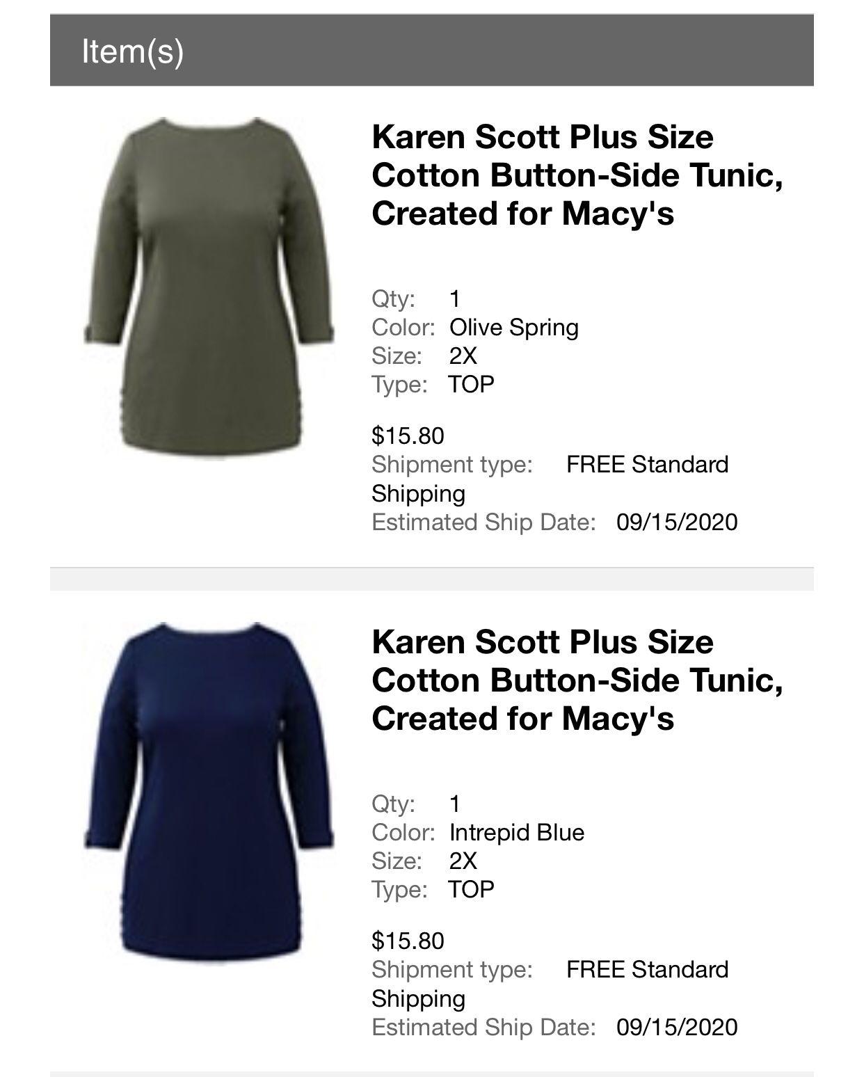 Karen Scott Plus Size Tunic 2X