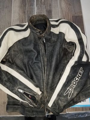 Photo Mens Size Large Joe Rocket Motorcycle Jacket. Leather With Armor. Excellent Condition. Lots Of Zippers, Padded Shoulders and Elbows. $70.00 firm