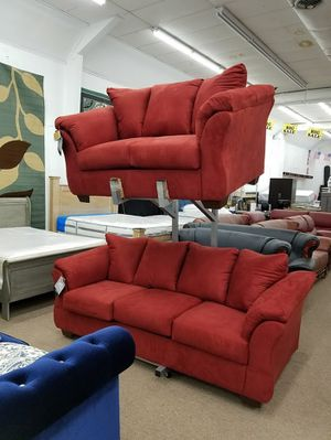 Ashley Furniture red color sofa and loveseat polyester material living room set for Sale in Takoma Park, MD