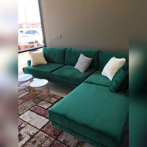Ephesus Green RAF Velvet Sectional No credit check🚚 same day delivery ⚡️