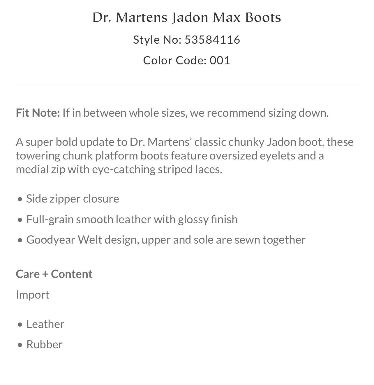 Dr. Martens Jadon Max Boots, Size 8