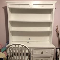 Solid White Desk with Hutch  Thumbnail