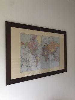 Dark Wood Frame With Map And Custom Mat Thumbnail