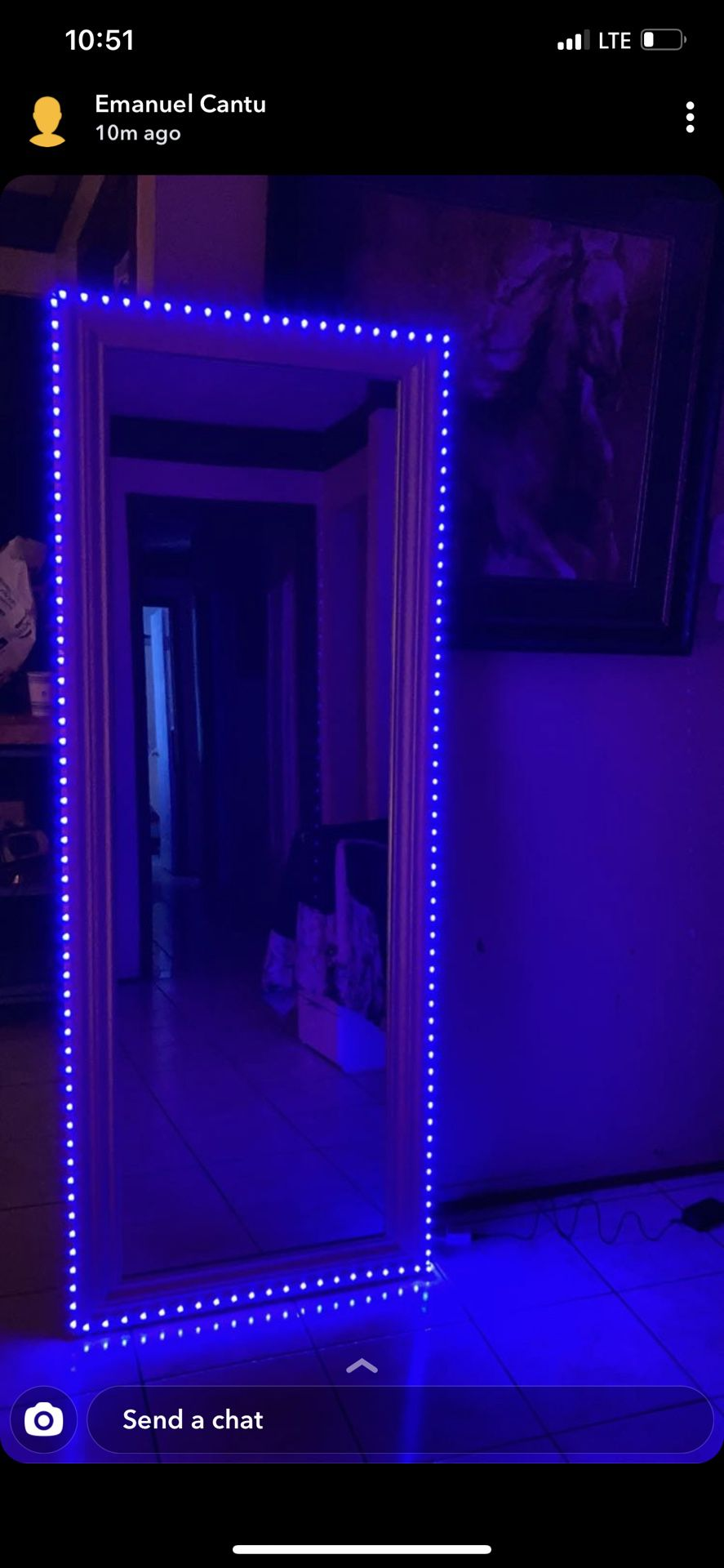 💄Full Body Mirror With Remote Control LED Strip Lights