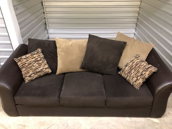 Dark brown leather/corduroy couch set for Sale in Puyallup, WA - OfferUp